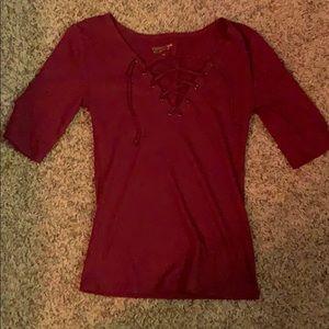 Burgundy tee shirt